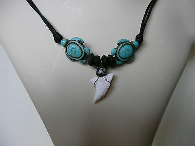 Sea Turtle Ethnic Surf Necklace Turquoise Stone effect Pendant with Shark Tooth
