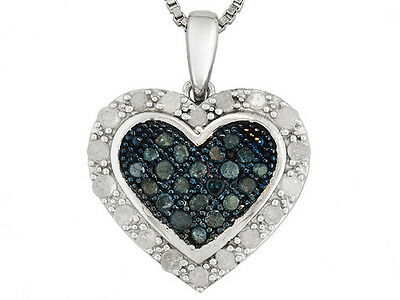 Fine Heart Necklace W/.50ctw Round Blue & White Diamond in 925 Sterling Silver