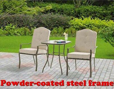 OUTDOOR BISTRO SET TAN 3-PIECE DECK OR PATIO FURNITURE GLASS TOP TABLE NEW!