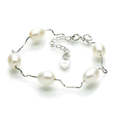 Pearl Bracelets Tin Cup Style Sterling Silver Chain Oval Freshwater Pearls Boxed