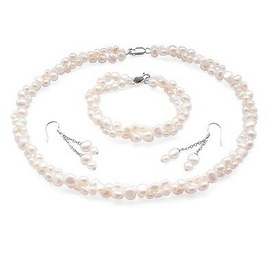 Pearl Jewellery Sets Double Strand Baroque Pearls Necklace Bracelet & Earrings