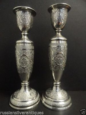 A pair of Antique Persian Silver 84 candlestick holders, 369 gr, Russian Style