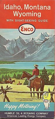 1962 ENCO HUMBLE OIL Road Map IDAHO MONTANA WYOMING Boise Butte Casper Cheyenne