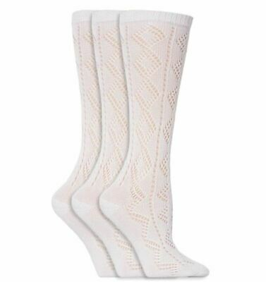 Childrens Kids Girls Long White Pelerine Socks School Uniform Patterned 3/4High