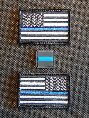 Thin Blue Line United States Flag & 3D PVC Button Patch Set Police SWAT Hook