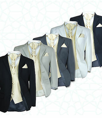 SIRRI 5PC Formal Wedding Boys Suits, Gold Cravat Prom Page Boy Suit Age 1 to 15