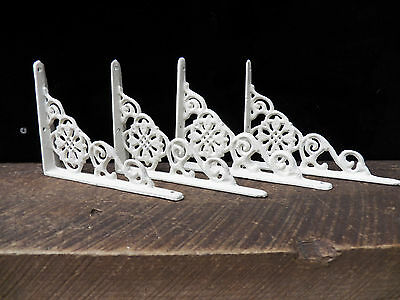 "Set of 4 Cast Iron Shelf Brackets New Antique-Style White 4.5"" x 6.5"""