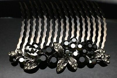 Black Flower Blossom Formal Bridal Wedding Crystal Large Hair Comb Clip 8cm Long
