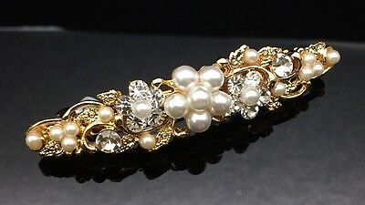Exquisite Pearl Crystal Gold Hair Clip Barrette Comb 7cm Wedding Formal Bridal