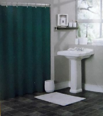 Solid Hunter Green Bathroom Vinyl Plastic Shower Curtain Liner With Metal Gromme