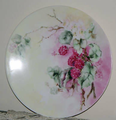 "JPL Limoges 8 1/2"" Hand Painted Berries & Blooms Plate Artist Signed Early 1900s"