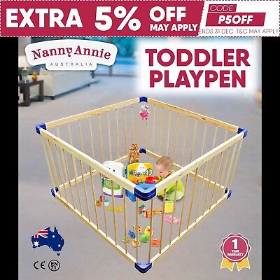 Baby Kids Toddler Wooden Playpen Divider Safety Gate 4 Panel Square Natural