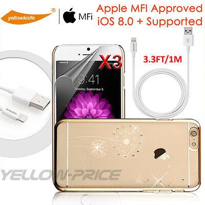 MFI iPhone 5S 6 iPod Lightning to USB Cable 3FT+iPhone 6 Plus Bling Diamond Case