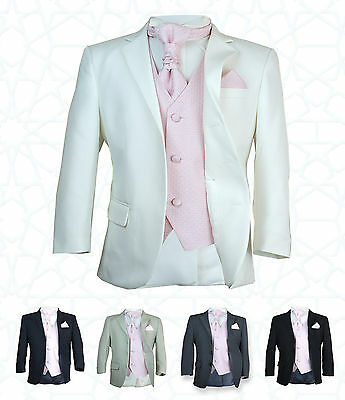 SIRRI Boys 5PC Formal Wedding Suits, Pink Cravat Prom Page Boys Suit Age 1 to 15