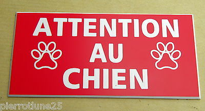 plaque gravée ATTENTION  AU CHIEN format 48 x 100 mm