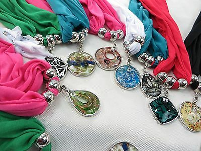 US SELLER-lot of 6 Wholesale Jeweled Scarves pendant charm scarf