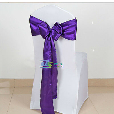 "6"" x 108"" Wedding Dinner Party Banquet Satin Chair Cover Sash Bow Decor 1/10Pcs"