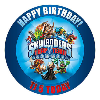 Skylanders Trap Team Personalised Edible Icing Image Party Cake Topper Round