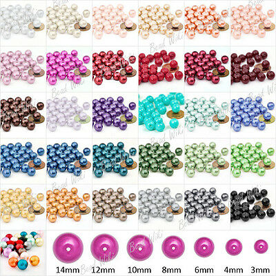 Wholesale 3/4/6/8/10/12/14mm Loose Round Glass Pearl Spacer Beads 30 Colors