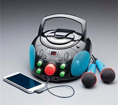 Blue and Black Karaoke Machine Portable CD Player System with 2 Microphones