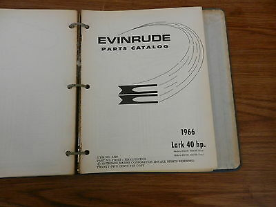 Lark 40 HP 1966 OMC Johnson Evinrude Outboard motor parts manual book