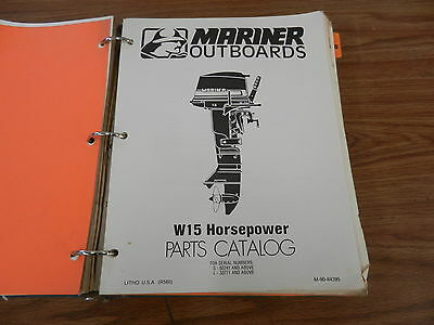 W15 15 HP Mariner Outboard motor parts manual  book