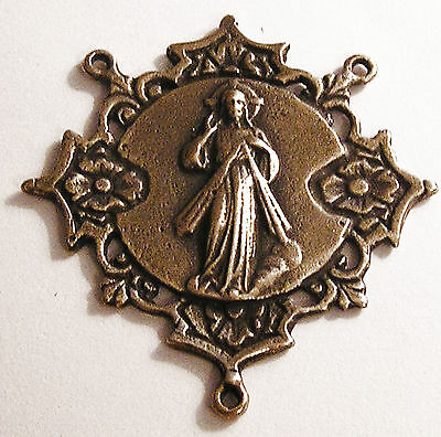Large Divine Mercy Antique Replica Rosary Center Sterling Silver or Bronze 1094