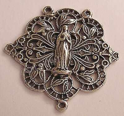Filigree Lace Large Antique Replica Rosary Center Sterling Silver or Bronze 1140
