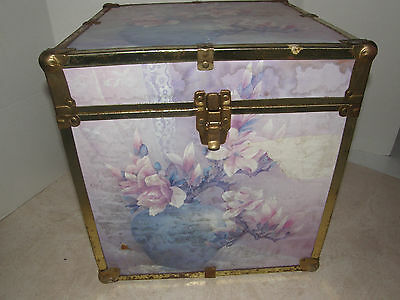 Old Wood Trunk Decorated With Floral Designs-Metal Frame And Clasp-Vintage