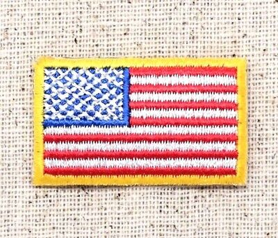 "Small 1.5"" American Flag Yellow Border/USA - Iron on Applique/Embroidered Patch"