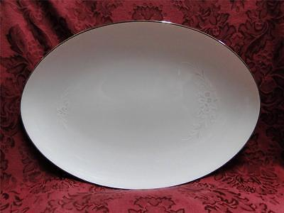 """Sango Cantata, White/Gray Shadow Flowers: Oval Serving Platter, 12.25"""" x 8.5"""
