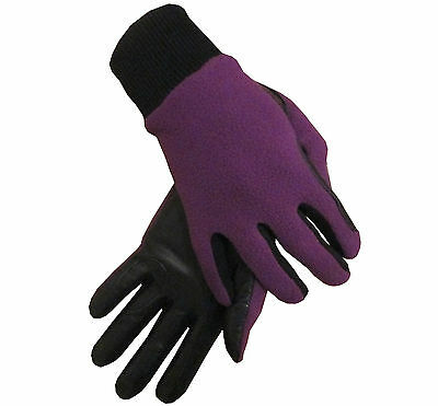 Ladies Leather Palm Winter Fleece Backed Horse Riding Gloves Small Medium Large