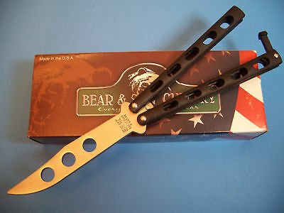 BEAR & SON made in USA - BUTTERFLY KNIFE Unsharpened PRACTICE pro Trainer 114BTR