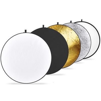 Photography 80cm 5 in 1 Collapsible Multi Light Reflector Studio Gold Black  Set