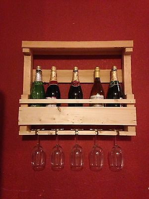 Rustic Solid Wood Pallet Wine Rack 6 Bottle with Rack Glass Holder Unfinished