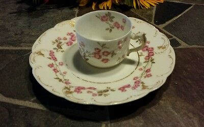 2 PC LIMOGES FRANCE EXC FOR CALDWELL CO DEMITASSE DESSERT PLATE WHITE W/ ROSES