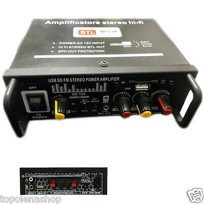 Amplificatore Audio 12V 220V Usb Sd Mp3 Radio Fm Casa Auto 2 O 4 Ch 1000W M-20