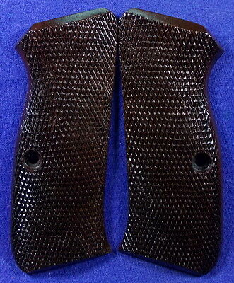 NEW GLOSS WOOD CHECKERED GRIPS FOR CZ 75, 85, FULL SIZE