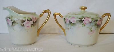 KPM China Creamer & Sugar Bowl Hand Painted Pink Roses Green Gold Germany Dish