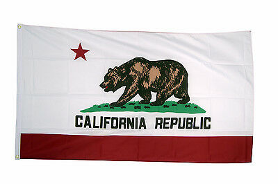 California Flag 5 x 3 FT - 100% Polyester With Eyelets - American State Bear US
