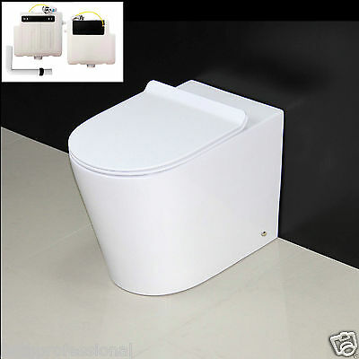 Toilet WC Bathroom Back to Wall Concealed Cistern Ceramic Soft Closing Seat 4 KL