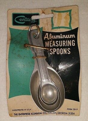Lot of 4 Vintage Aluminum Mid Century Baking Measuring Spoons  Rare Made In USA