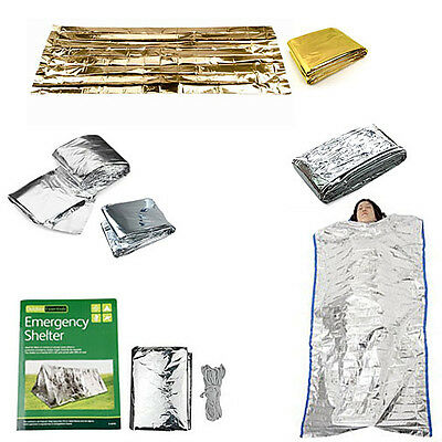 Camping Gold and Silver Warm Set Survival tent+Sleeping bag+Survival blanket