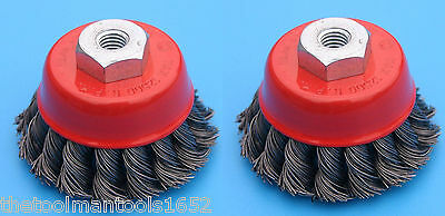 """2 Pack 4"""" Cup Brush Knotted Twisted Wire Wheel 5/8 Arbor Grinder"""