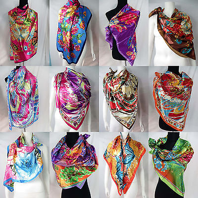 US SELLER-lot of 10 floral retro bohemian large satin 39 inches square scarves