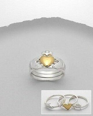 3 Bands IRISH HEART CLADDAGH Puzzle 14k Gold Overlay 925 Sterling silver RING