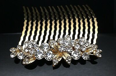Gold Blossom Formal Bridal Wedding Crystal Large Hair Comb Clip 8cm Diamante