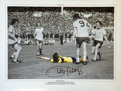 Charlie George Hand Signed Arsenal celebration  12x16 Photograph C  : New