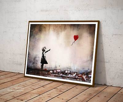 Poster Bansky Heart Balloon, Cuore Stampa Fine Art Hq Design