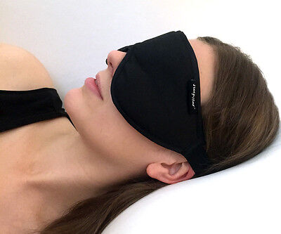 Stellar Deluxe Sleep Mask by Sleepstar - Luxurious Black Suede Eye Mask